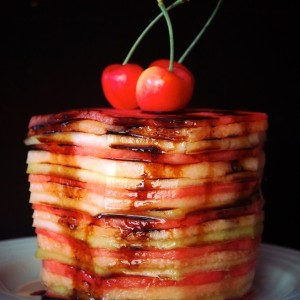 Balsamic Glazed Fresh Melon Cake Recipe