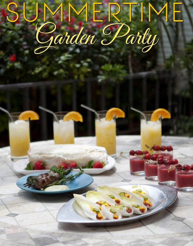 Summertime Garden Party Menu spread out on outdoor table