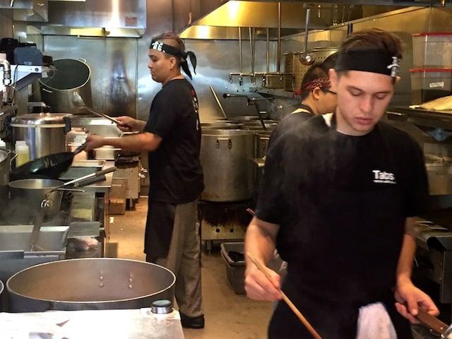 Los Angeles Tatsu Ramen Restaurant kitchen.