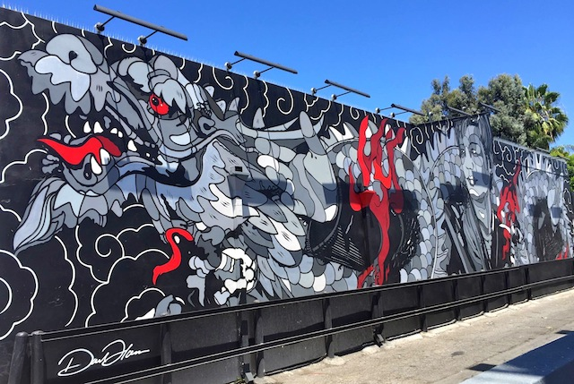 The mural of a dragon on the outside of Tatsu Ramen Restaurant in Los Angeles.