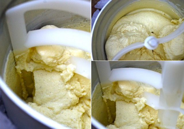 Grilled Corn Ice Cream in ice cream machine.