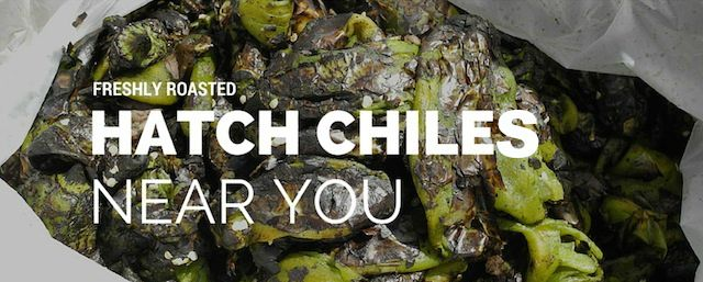 Roasted Hatch Chiles with white text.