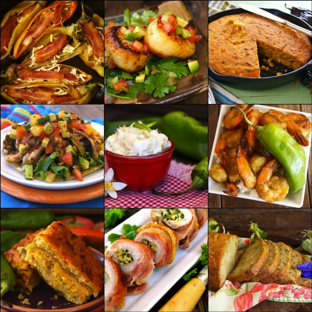 Photo collage of 9 of the Best Hatch Chile Recipes, sweet and savory.