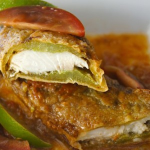 Mahi Mahi Stuffed Roasted Hatch Chiles with Tomato Lime Sauce