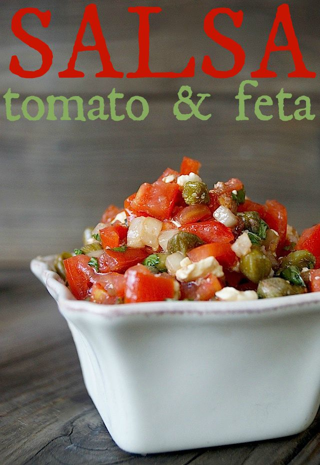 Tomato Feta Salsa Recipe for Meat or Chicken in a small, square white dish.