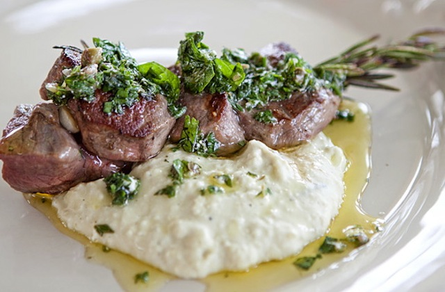 Lamb- Skewers with Mint Feta Salsa and Lima Bean Purée