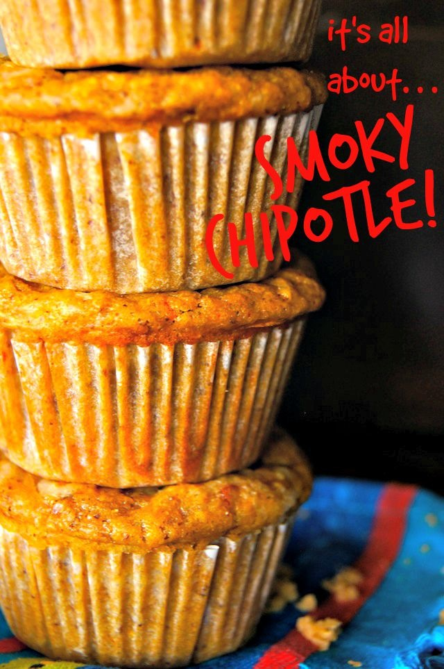 tall stack of smoky and spicy chipotle chile muffins