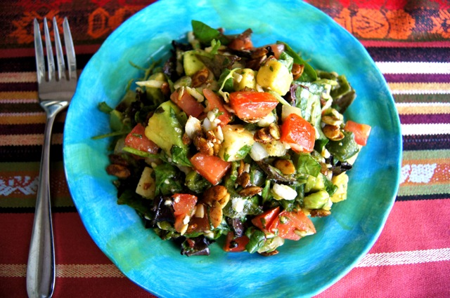 Mexican Chopped Salad on bright blue and green plate