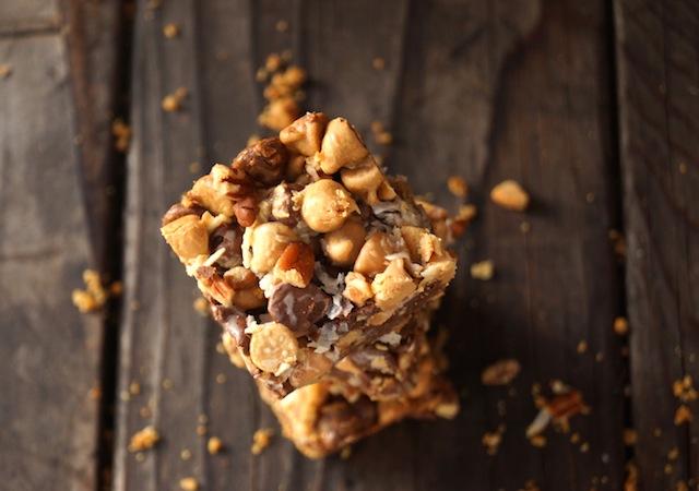 small stack of Peanut Butter Pretzel Seven Layer Magic bars, top view
