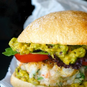 Cilantro Shrimp Burgers with Smoky Chipotle-Lime Guacamole
