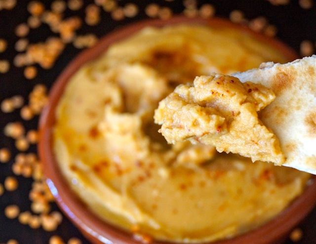 Smoky Red Lentil Chipotle Hummus -- This is an earthy dip full of warm flavors. Perfect for fall!
