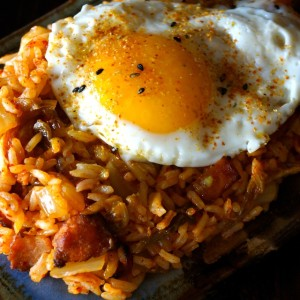 Kimchi-Bacon Fried Rice and Eggs Recipe