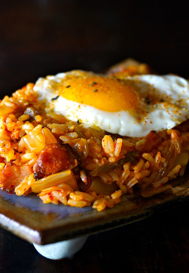 Kimchi-Bacon Fried Rice with an egg on top