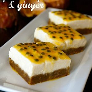 Passion Fruit-Ginger Cheesecake Bars