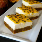 two passion fruit ginger cheesecake bars