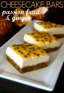 Passion Fruit Ginger Cheesecake Bars - - Sweet, tart, subtly spicy, creamy and oh-so-pretty!