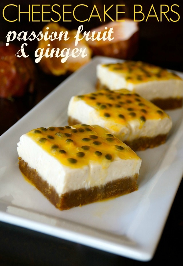 Three Passion Fruit Ginger Cheesecake Bars on a long, white plate.