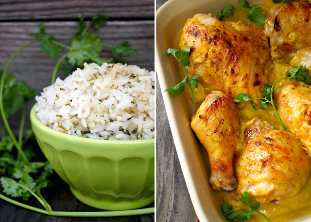 Coconut Cilantro Rice in green bowl and Mango Coconut Baked Chicken in baking dish