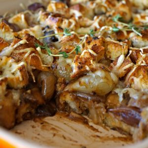 baked French Onion Mushroom Casserole with one serving removed