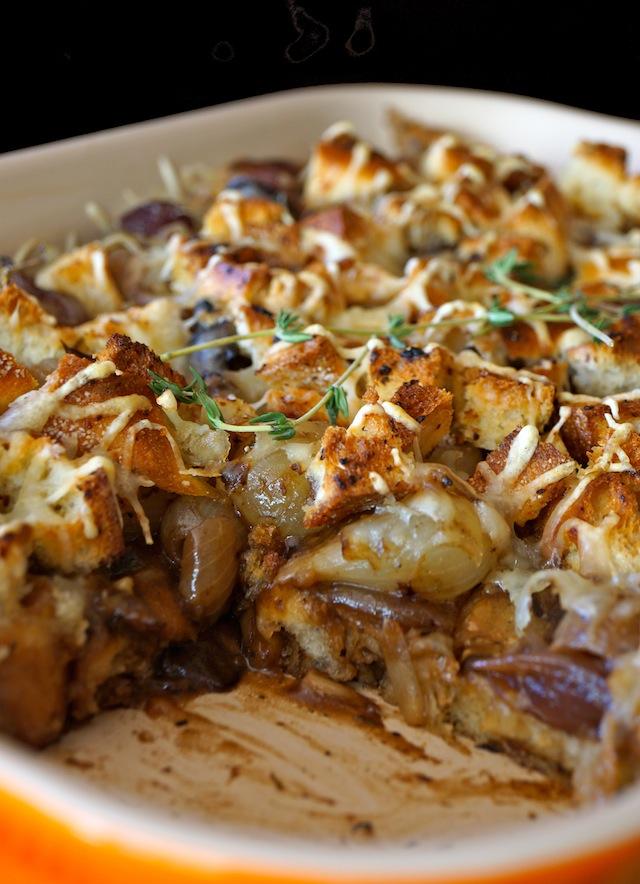 French Onion Mushroom Casserole in cream colored baking dish