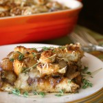 French Onion Mushroom Casserole Recipe - It's like the best bowl of French Onion Soup you've ever had, only in the form of a casserole. It's the top of the soup -- the perfectly toasted French bread, the melting Swiss cheese, the caramelized onions, and all of the hearty, warm flavors of beef, garlic and mushrooms.