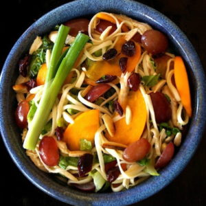 Winter Fruit Salad with Udon and Chicken in a blue bowl with a scallion on top