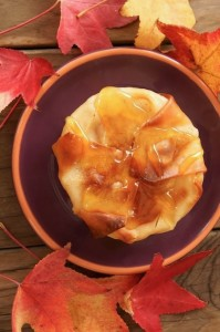 Thanksgiving Dessert Recipes - Honey Glazed Korean Pears in Wonton Crisps with Cinnamon Cream