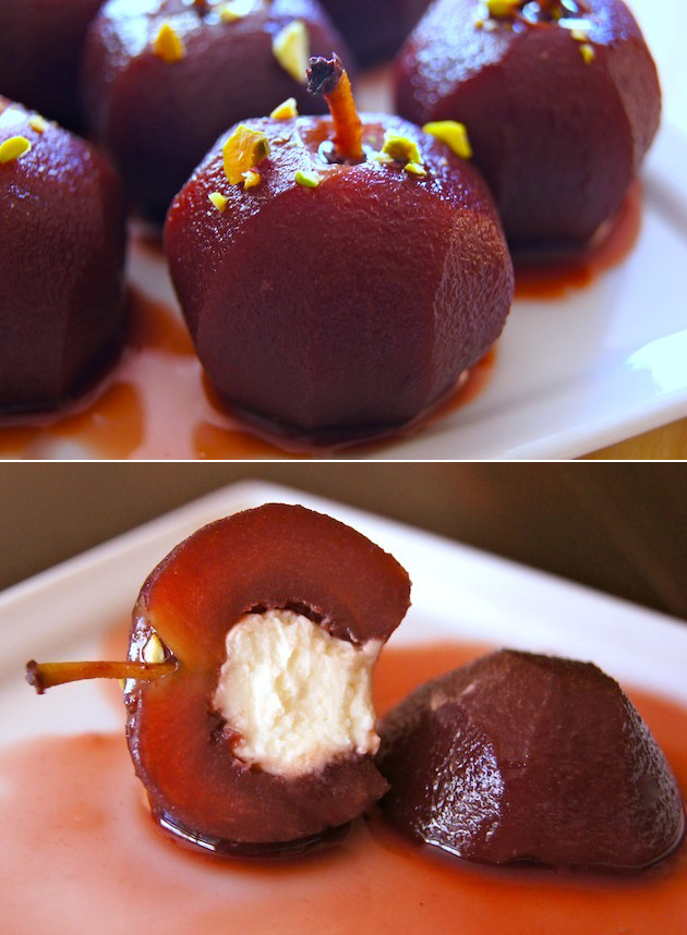 Thanksgiving Dessert Recipes-Red Wine Crimson Gold Apples with Vanilla Mascarpone