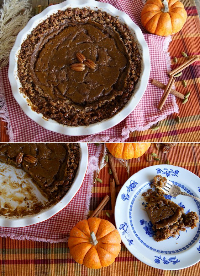 Thanksgiving Desserts-Gluten-Free Salated Caramel, Pecan Crusted Pumpkin Pie