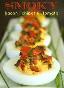Smoky Tomato Bacon Chipotle Deviled Eggs