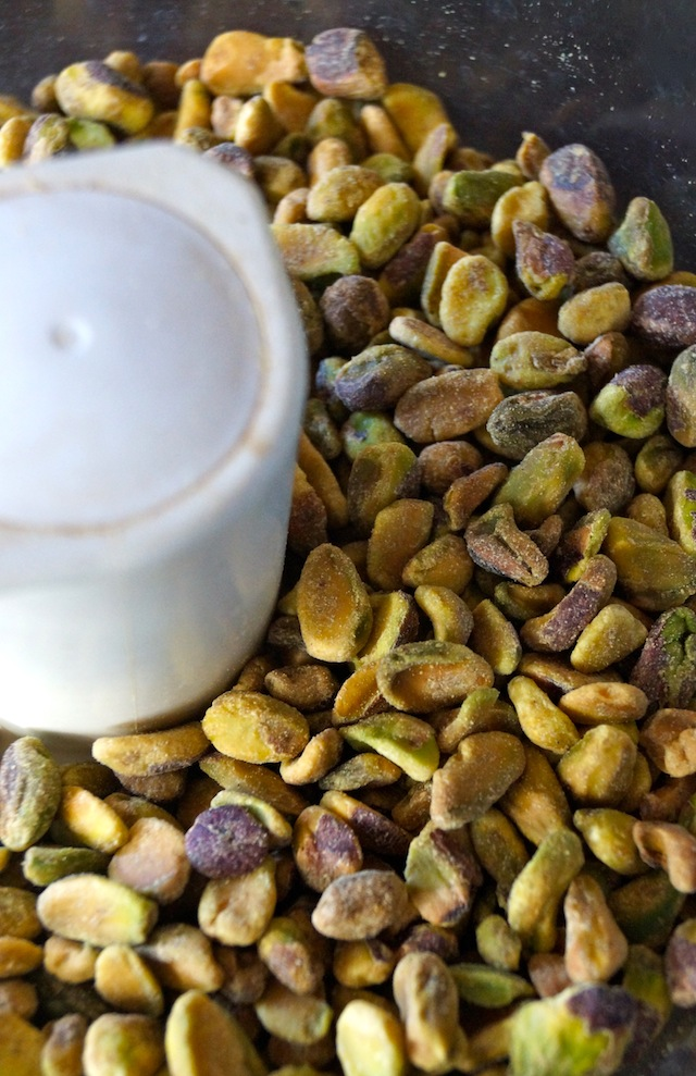 shelled pistachios in food processor