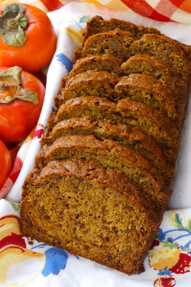 a sliced loaf of Persimmon Gingerbread