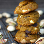 Stack of 4 gluten-free Pistachio Chocolate Chip Cookies