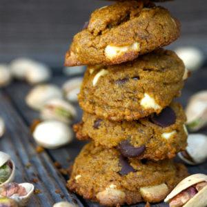 Stack of 4 gluten-free Pistachio Chocolate Chip Cookies