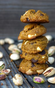 tall stack of Gluten Free Pistachio Chocolate Chip-Cookies