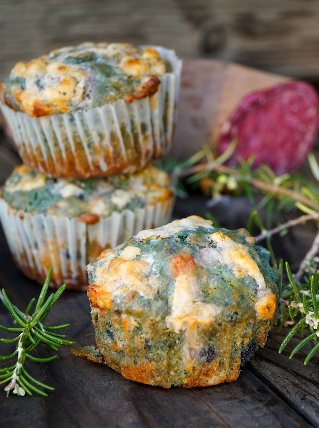Purple Sweet Potato Muffins Recipe that have turned greed, with fresh rosemary springs on wood background.