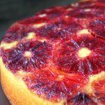 top view of blood orange turmeric cake