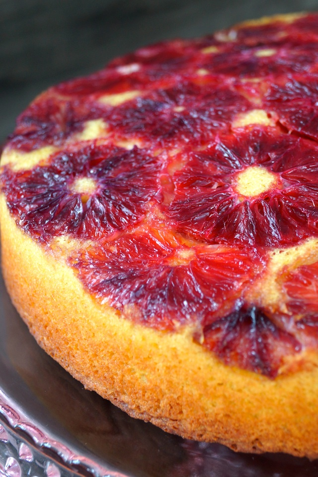 top view, close-up of Blood Orange-Turmeric Upside Down Pound Cake