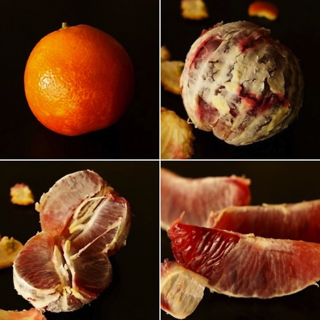 4 photo grid of different stages or peeling a blood orange.