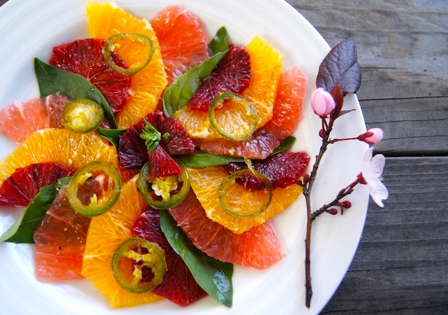 Winter Citrus Carpaccio on a white plate.
