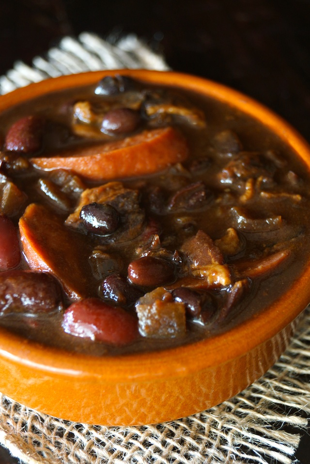 Knockwurst and Baked Beans Recipe Ever in a round, terracotta ramekin