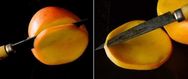 two images of a mango being slices and peeled