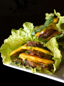 Spiced Pork and Mango Chimichurri Lettuce Wraps Recipe