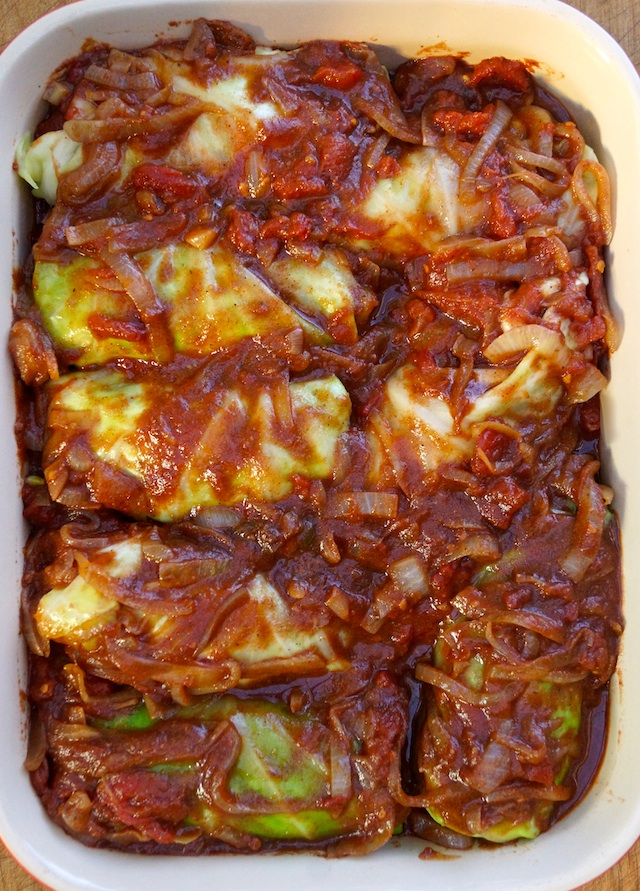 Stuffed Cabbage Recipe with Tomato sauce in a baking pan