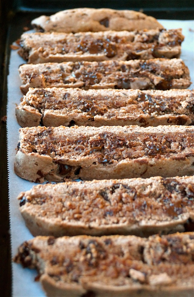Triple Chocolate Gluten-Free Biscotti lined up on their sides on parchment
