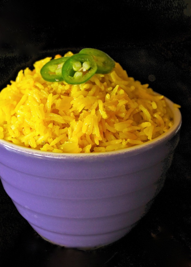Spicy Turmeric-Coconut Basmait Rice Recipe -- -- it will brighten any plate with its gorgeous color and divine flavor.