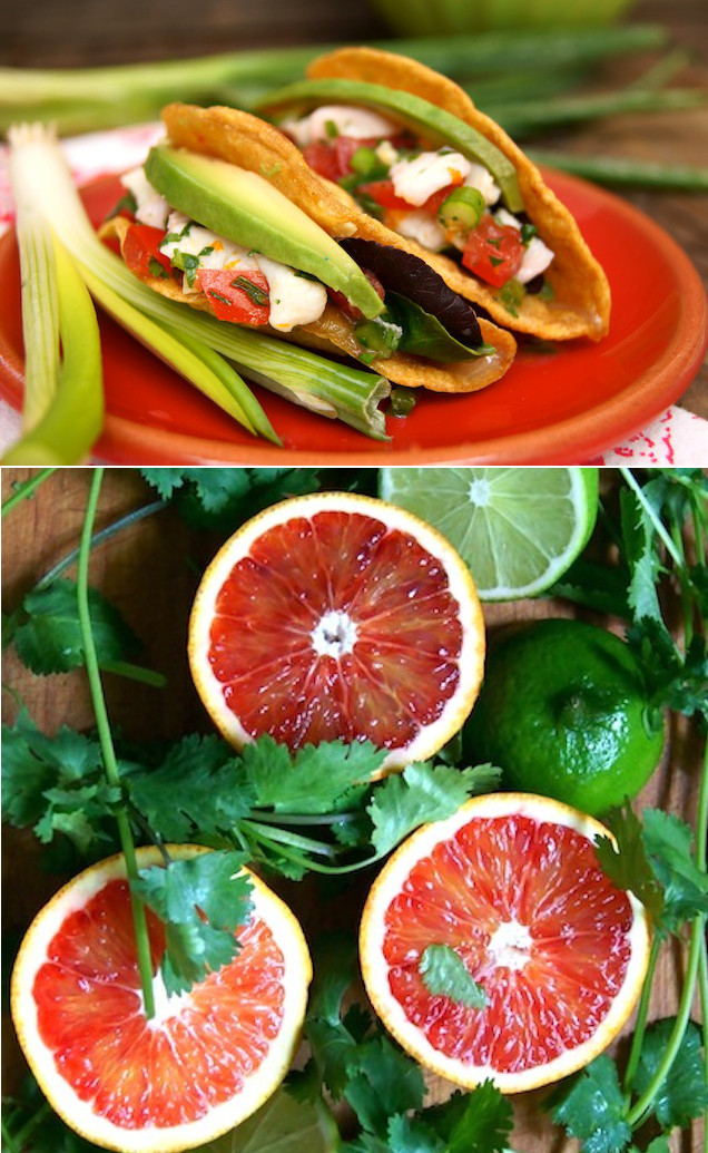 Blood Orange halibut Ceviche Tacos