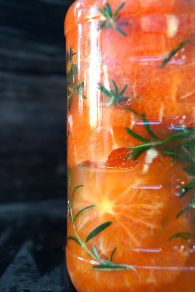 Rosemary-Honey Mainated Oranges Recipe - Beautiful, refreshing, and perfectly scented with rosemary and honey, these delicious oranges can work their way into any meal, and are especially lovely for dessert.