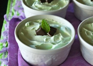 Individual Grasshopper Mousse Pies Recipe -- A three-ingredient, super delicious, minty mousse with a perfect chocolate crust, is a divine no-bake St. Patrick's Day dessert!