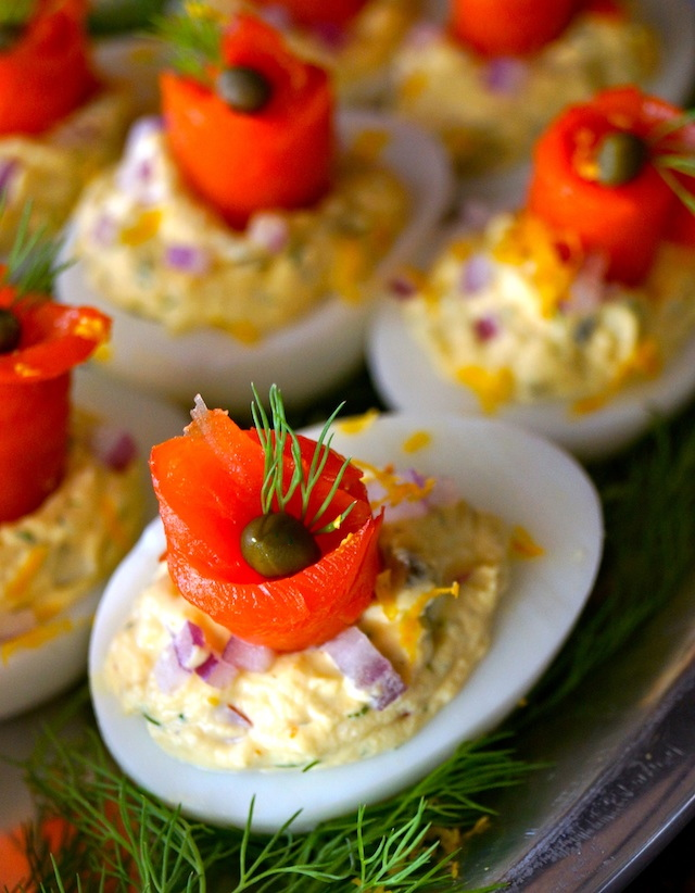 The Best Smoked Salmon Deviled Eggs on a platter